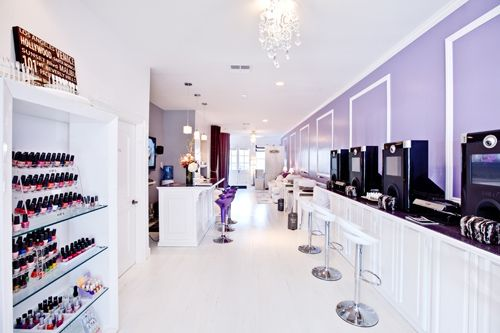 Ultra modern white and lilac nail spa nail salon decor - Nail salon interior design photos ...