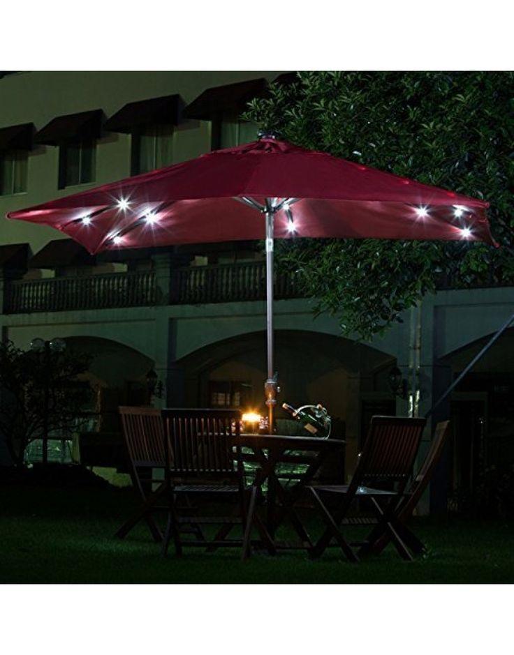 7' x 9'  Rectangular Patio Umbrella with Solar Powered, Dark Red
