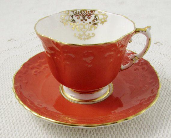 Aynsley Orange Tea Cup and Saucer, Square Shape, Vintage Teacup and Saucer, Bone…