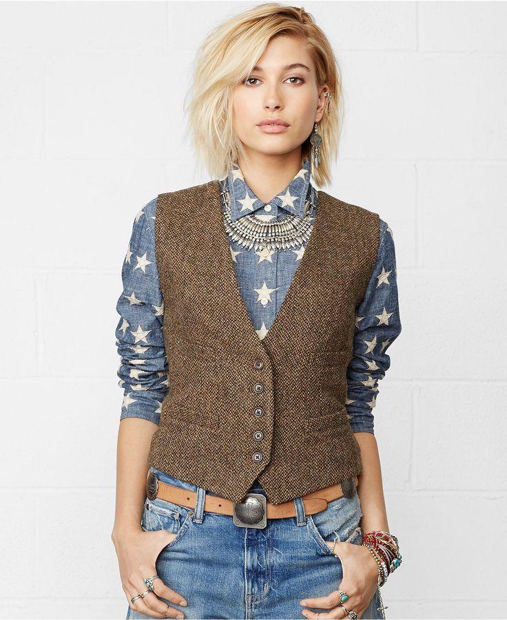 Denim & Supply Ralph Lauren Tweed Wool Vest - Jackets & Blazers - Women - Macy's