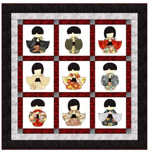 A modern twist on the traditional kokeshi doll. This easy fused applique throw is a fun way to showcase your collection of Japanese and Asian print fabrics. Full sized templates included. Finished siz
