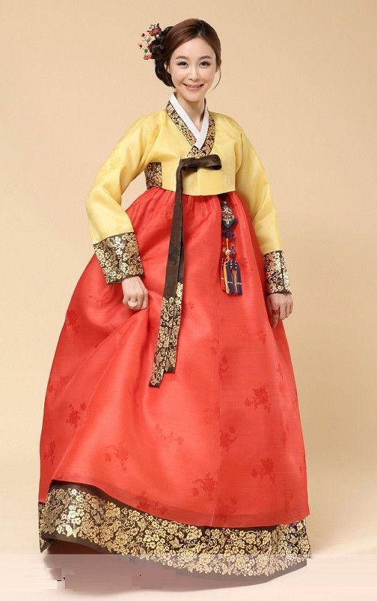 Autumn Korean Bridal Gold Leaf Hanbok