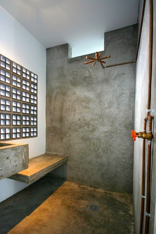 Drift hotel San Jose del cabo. Exposed copper pipes and concrete