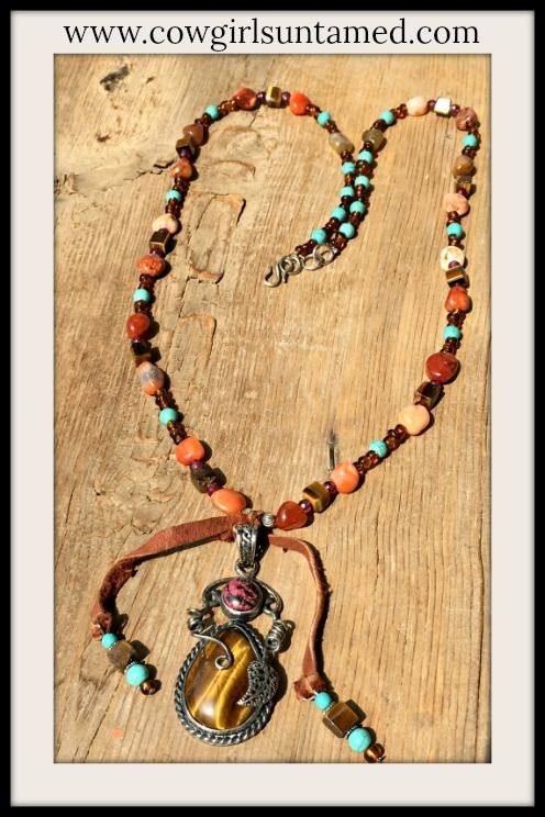 GORGEOUS STERLING SILVER GEMSTONE NECKLACE! Sterling Silver Tiger's Eye Gemstone Leather Tassel Pendant Necklace  #leather #tassel #necklace #jewelry #gemstone #sterlingsilver #tigerseye #turquoise #beaded #beautiful #boutique #cowgirl #boho #southwestern #bohemian