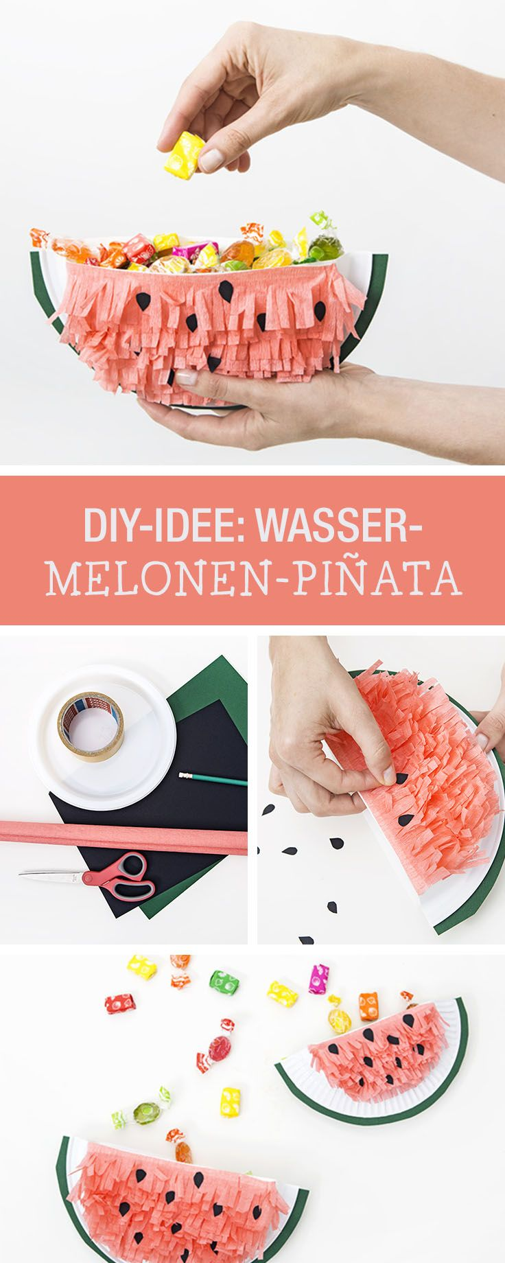DIY-Anleitung: Melonen-Pinata für den nächsten Kindergeburtstag basteln, Deko und Partyspiel / DIY tutorial: crafting watermelon pinata for the next children's birthday party, decor and game via DaWanda.com