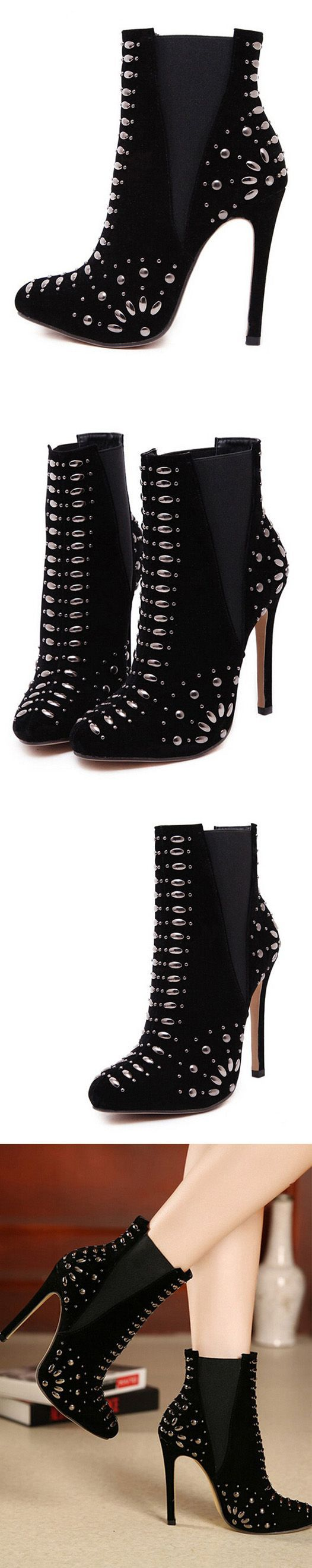 MYNYSTYLE | Black Suedette Studded Stretch Side Heeled Ankle Boots.