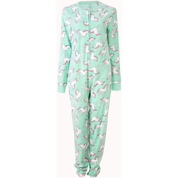 Forever 21 Women's  Unicorn Dreams PJ Onesie (290 EGP) ❤ liked on Polyvore featuring intimates, sleepwear, pajamas, pyjamas, forever 21, long sleeve pyjamas, long sleeve pajamas, forever 21 sleepwear and unicorn pajamas