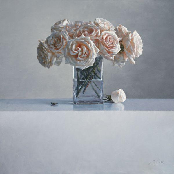 ning lee, white roses, oil on linen 2010