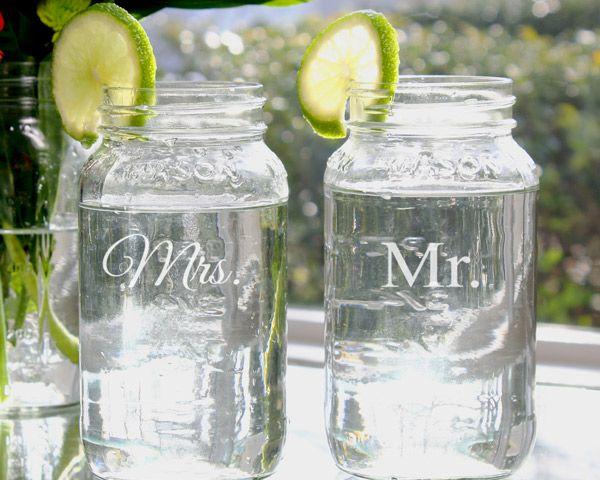 Mr. & Mrs. 26oz. Mason Jar Set for Wedding Reception Dinner.