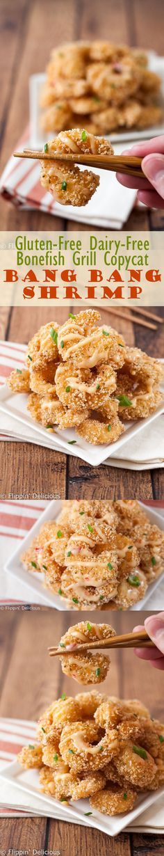 Now you can make your own safe Gluten Free Bang Bang Shrimp (copycat Bonefish Grill recipe) with a crispy golden breading and creamy chili sauce!