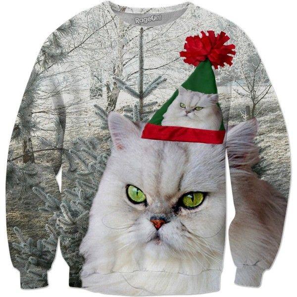 Christmas Cat Sweatshirt ($65) ❤ liked on Polyvore featuring tops, hoodies, sweatshirts, cat, cat sweatshirt, all over print sweatshirts, christmas sweatshirts, christmas tops and cat top