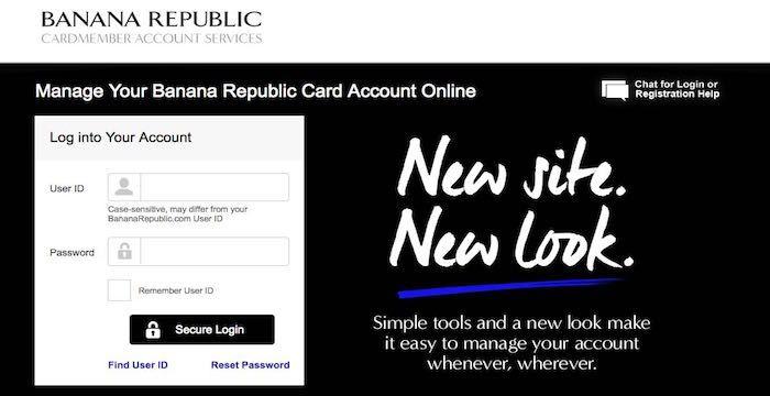 banana republic card login