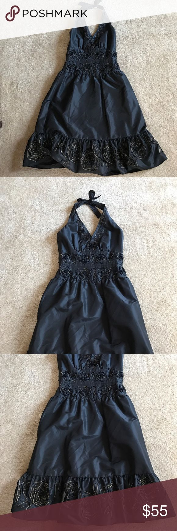 Donna Ricco Halter Dress with gold flower detail Dress has hidden back zip and is fully lined. Also has built in shaping in the sides. Donna Ricco Dresses Strapless
