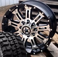 "20"" Black Mirror Face Lonestar Ambush Wheels 33"" Tires Ford Truck 8x170 -10 F250"