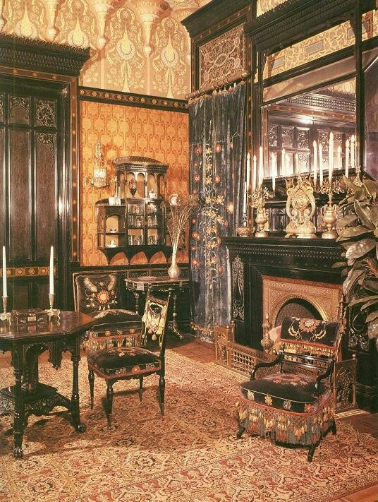 Late-Victorian interior showing the eclectic mix of influences in this  period