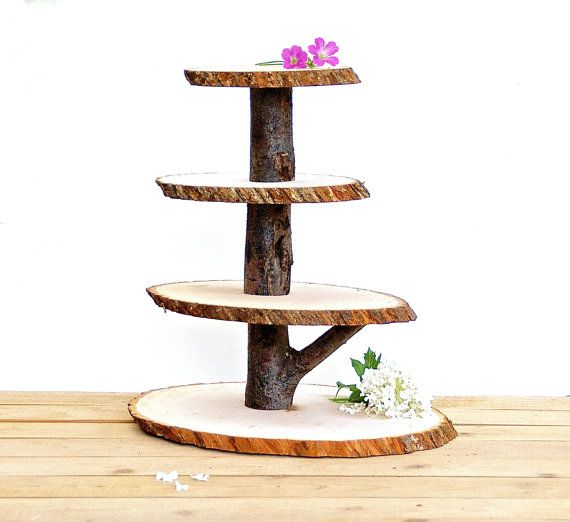 Wooden Cupcake Stand Rustic Wood Tree Slice by ElizaLenoreDesigns