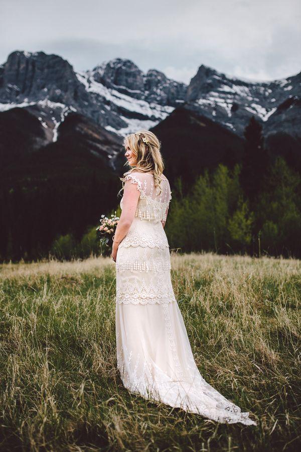 Claire Pettibone wedding gown // photo by Diane + Mike Photography // http://ruffledblog.com/canadian-mountain-wedding