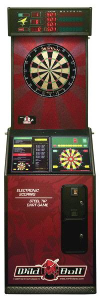 Wild Bull Steel Tip / Bristle Electronic Dartboard | From Wild Bull Darts |   Get more information about this game at: http://www.bmigaming.com/games-catalog-merlin-technologies.htm