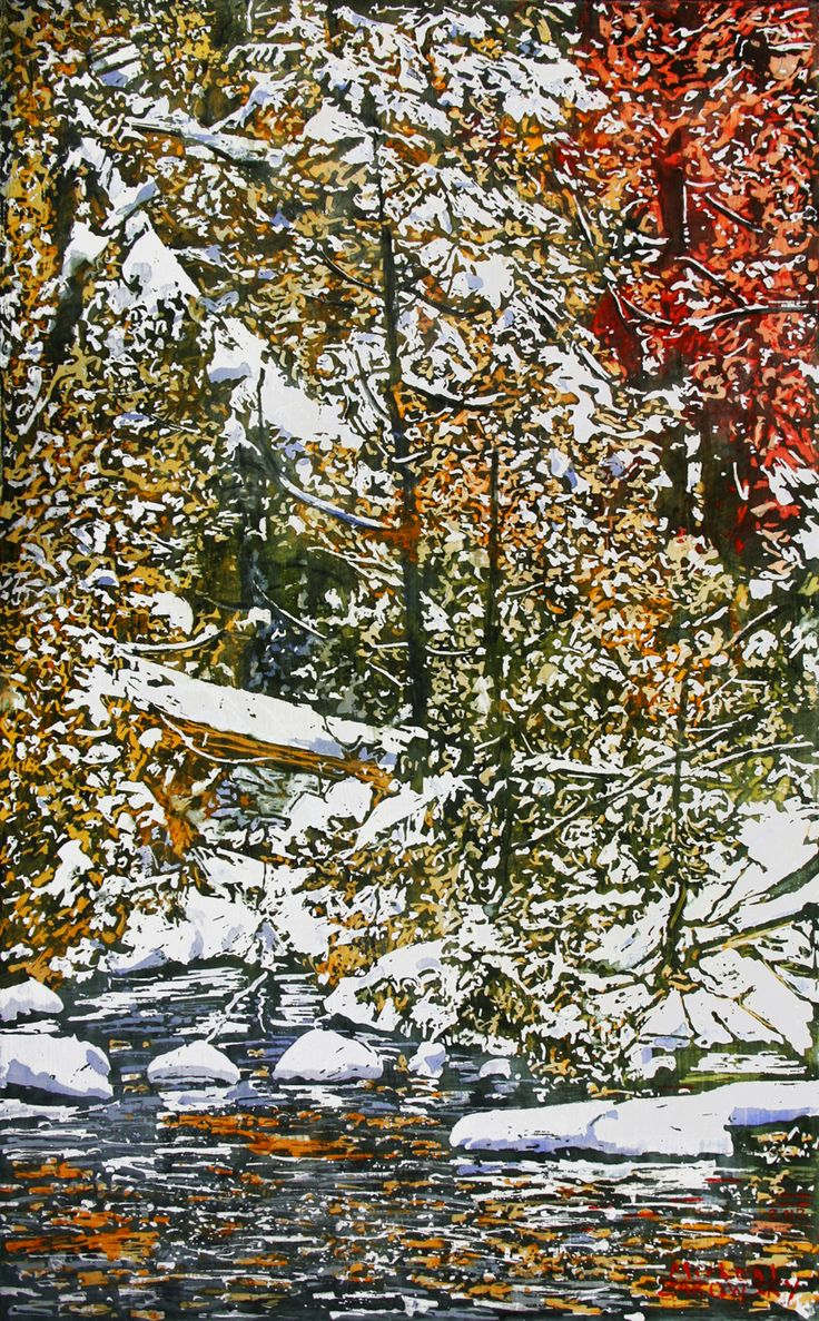 """snowcovered stream running through the autumn colours  / rocky saugeen river  22"""" x 13.5: micheal zarowsky / mixed media (watercolour / acrylic painted directly on gessoed birch panel) available $650.00"""