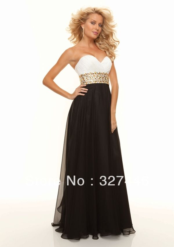2014 Unique Sexy Long Prom Dresses Designer White and Black Sweet 16 Dress Gold Crystals sashes Special Occasion Pageant Gown US $69.13