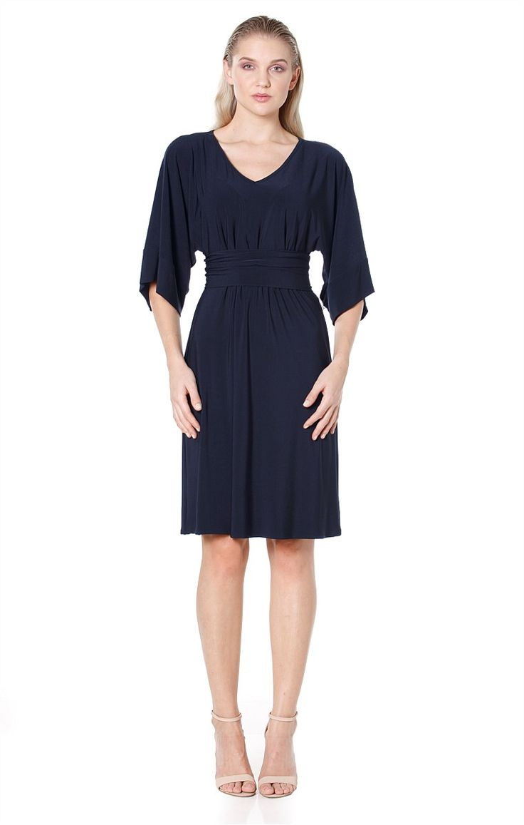 KIMONO REVERSIBLE 3/4 SLEEVE STRETCH JERSEY TUNIC DRESS IN NAVY
