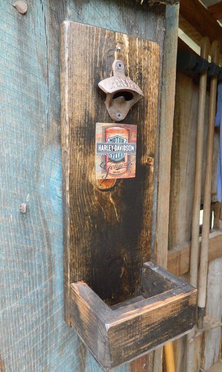 Rustic Wood Wall Mounted Bottle Opener with Cap Catcher Harley Davidson Oil Can…