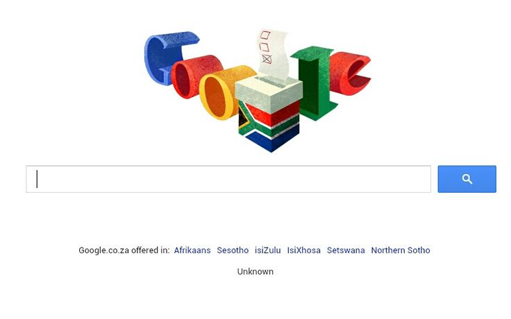 South Africa got its own Google Doodle to mark its fifth democratic elections on Wednesday.  A ballot box in the colours of the SA flag formed the centre of the doodle with the individual letters of the internet search engine's name picking up colours of the flag.