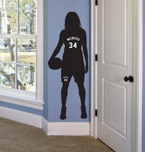 Girls Basketball Gifts, Personalized Basketball Decor, Basketball Room Decor, Girls Basketball Wall Art, Basketball Bedroom Decor This wall decal is made from premium indoor removable (but not reusable) vinyl with a matte finish.  This listing is available in 4 sizes, but I can make it as big or as little as you need to fit your space. **Larger decals may come in separate sections to ease installation.  In the message to seller please indicate: A. Jersey Name B. Jersey Number C. Silhouette…