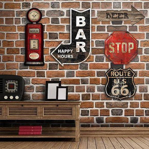 Placa Decorativa Formato Seta Bar Para área Gourmet 40x40