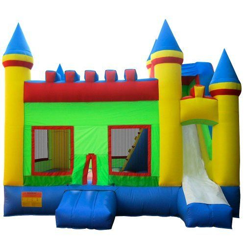 Commercial Grade Bouncing Castle Kingdom Bounce House with Blower and Slide by Inflatable HQ by Inflatable HQ. $1499.99. Fun slide, climbing wall and huge bounce room with large mesh windows. Made of commercial grade PVC and heavy duty 420D Nylon. Includes powerful 1.5hp UL-Listed blower. Complies with the Lead Free Toys Act. Approximately 16.5 feet x 13.25 feet x 14.75 feet total inflated size. The commercial-grade Bouncing Castle Kingdom by Inflatable HQ is a large...