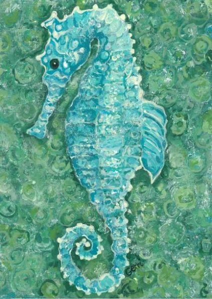 "Aqua Seahorse Floor Mat $49. Durable canvas with slide proof backing. Ideal and quick way to bring a coastal look to your kitchen, bath, entry, patio/deck, or mud room floors. Created with durability in mind. Easy to clean and can even be mopped! Dimensions: 22"" x 32"" ~ nautical ocean sea creatures sea horse blue turquoise teal green watercolor rug rugs flooring"