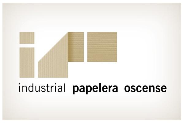 Industrial Papelera Oscense. El cartón como base de la industria papelera dan significado a la identidad de su actividad. © 2012 Veintiocho Estudio Creativo. #logotipo #logotype #veintiocho