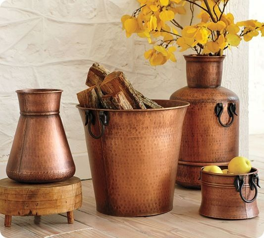 Pottery Barn beaten copper vessles, Image Source twicelovely.com