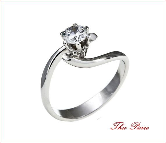 14K Gold Wedding Ring - Gold Solitaire Ring - Bridal Ring