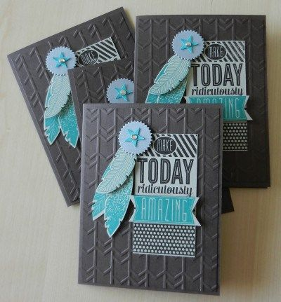 masculine card idea southwest style; create a card corsage, Amazing Birthday and Four Feathers stamp sets, Feather Framelits, Arrows embossing folder