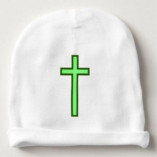 Vibrant Green-Colored Christian Cross