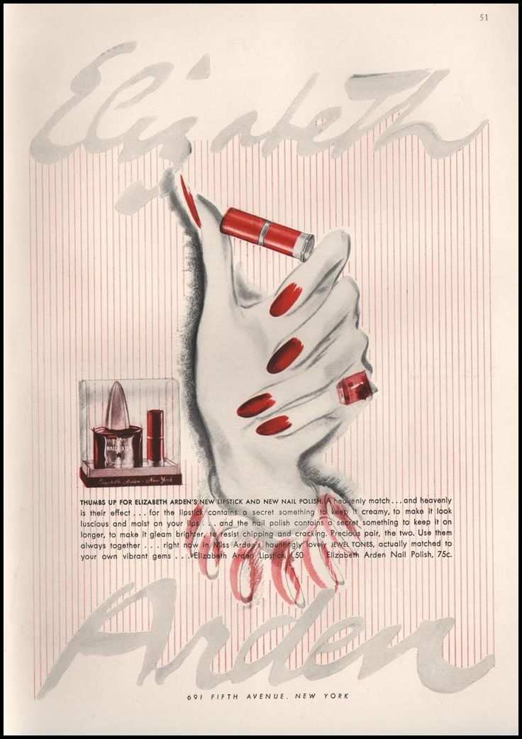 Paper Gallery Collectibles - Original 1941 Elizabeth Arden Lipstick And Nail Polish Vintage Vintage Advertisement, $14.50 (http://www.papergalleryprints.mybigcommerce.com/1941-elizabeth-arden-lipstick-and-nail-polish-advertisement/)