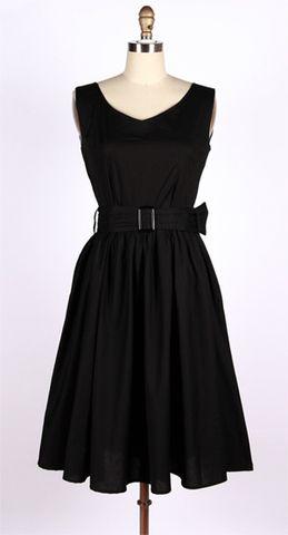 50s vintage black swing bridesmaid dress