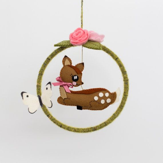 Woodland creatures deer mobile with butterfly, roses and ladybird detail -available now, ready to ship