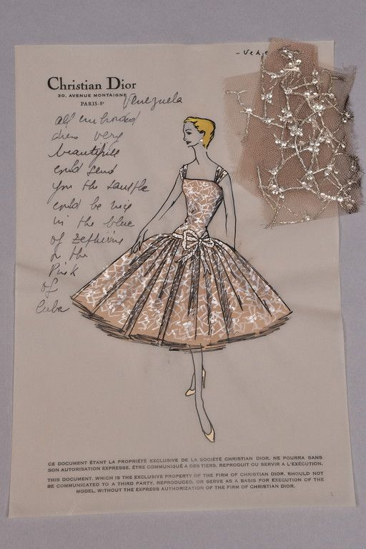Christian Dior vellum stationery, for Venezuela dress with personal notes to client Brenda Schulman, with swatch attached