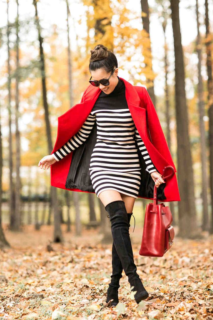Autumn Colors :: Red coat & Striped dress : Wendy's Lookbook waysify