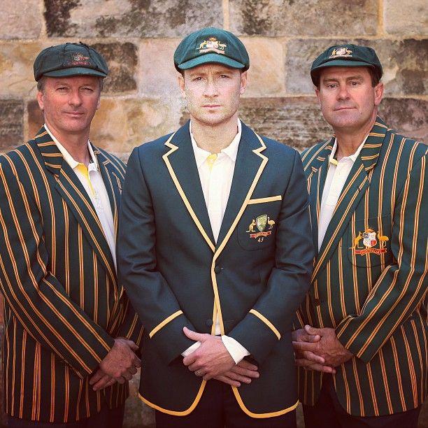 Former Australian #Test skippers Steve Waugh & Mark Taylor with Michael Clarke