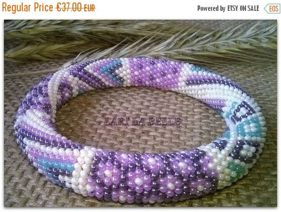 Fall Sale PASTEL patchwork  seed beaded crochet от LariLaBelle