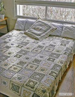Tina's handicraft : crochet blanket with motifs squares
