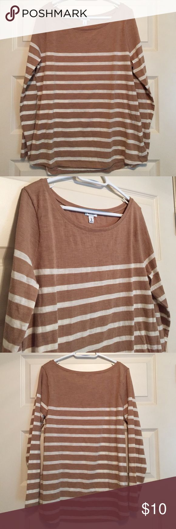 Women's striped top Women's boat neck tan and cream striped shirt. Washed but never worn. Size extra large. Bundle 2 or more items and save 15% plus combined shipping! Old Navy Tops