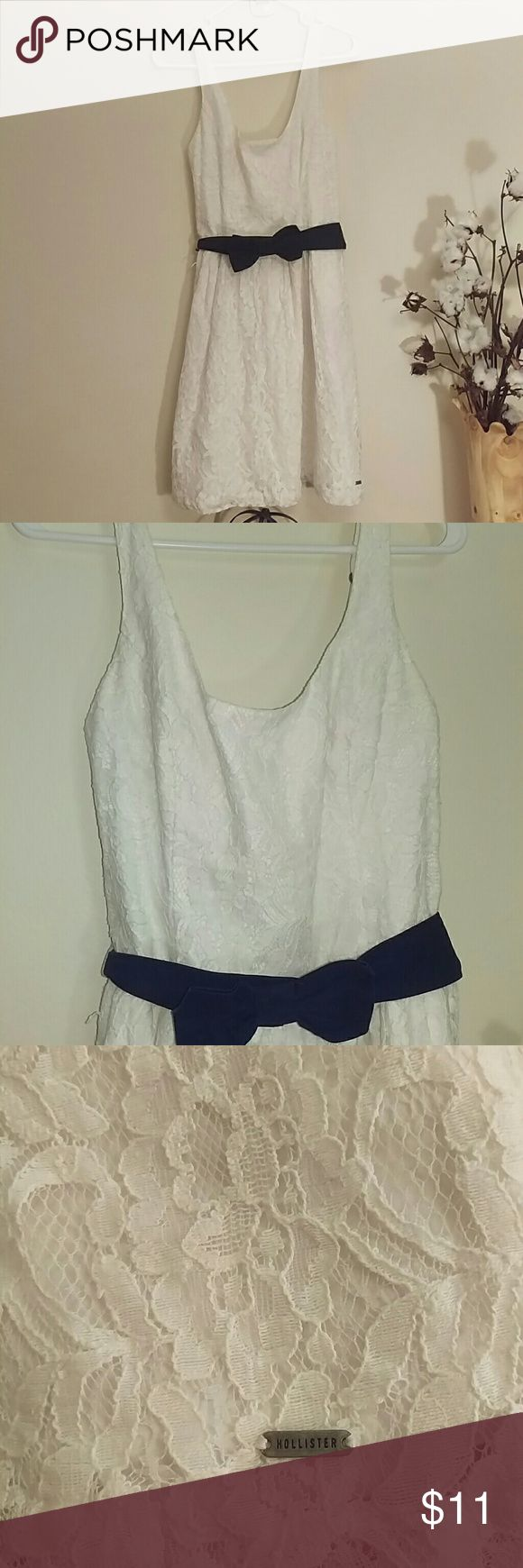 Hollister lace sundress with bow belt 🎓graduation Fully lined white lace sundress with bow belt and adjustable straps. Pleated skirt and bodice seams for nice fit. Hollister Dresses Mini