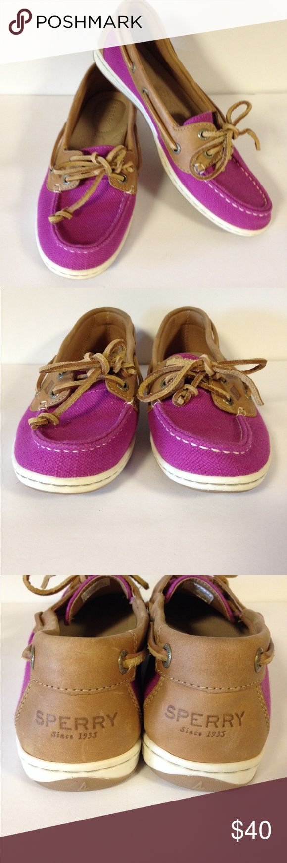 Sperry Top Sider shoes purple linen 6 1/2 Excellent preloved condition.  Linen like material with leather and leather strings. Size 6 1/2.  Clean. Sperry Shoes Flats & Loafers
