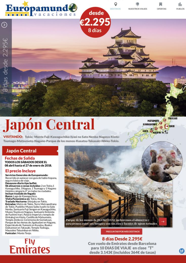 Japon Central  8 dias desde   2.295E
