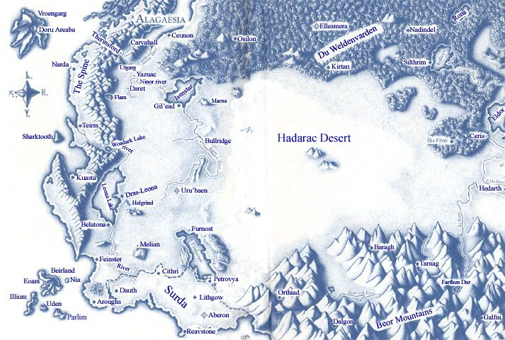 Alagaesia map from the Inheritance Cycle.