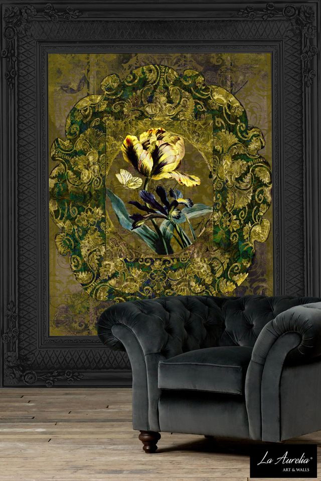 Jardin (no.160928) Framed. A Luxury Wallpaper designed and produced by La Aurelia ®, the Netherlands.  Standard size: 243,5 cm wide x 300 cm high. Customization is possible for all the designs, with a minimum of 5 m2. Contact us for free quotation.  Available in different variations: – 2 color variations – 'Framed look' in Black, Gold or Silver frame, printed as wallpaper – Fleece or Vinyl .  #wallart #wallcovering #LaAurelia #art #kunst #behang #walls